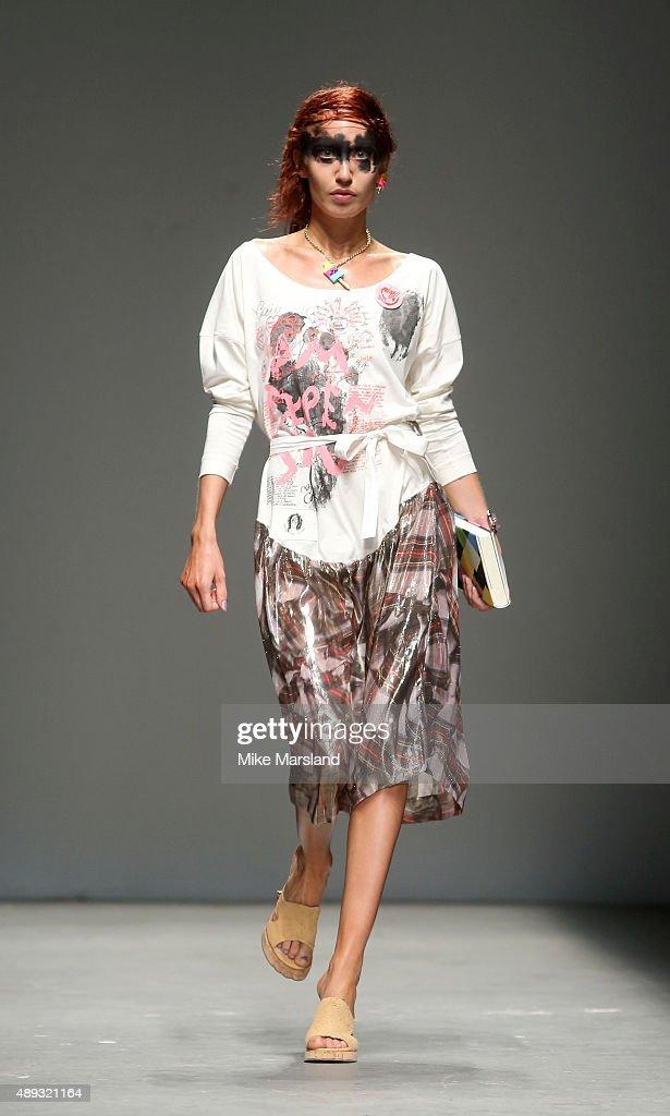 Elizabeth Jagger walks the runway at the Vivienne Westwood Red Label show during London Fashion Week Spring/Summer 2016/17 on September 20, 2015 in London, England.