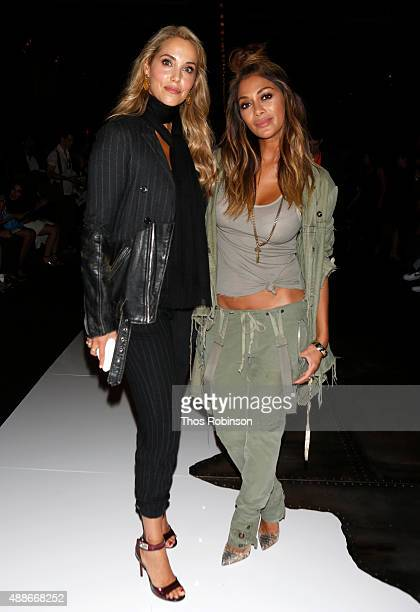 Elizabeth Lauren and Nicole Scherzinger attend Greg Lauren front row Spring 2016 during New York Fashion Week The Shows at The Dock Skylight at...