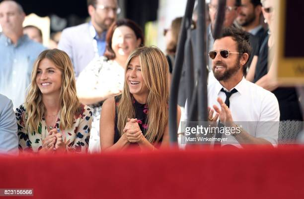 Elizabeth Law Jennifer Aniston and Justin Theroux attend The Hollywood Walk of Fame Star Ceremony honoring Jason Bateman on July 26 2017 in Hollywood...