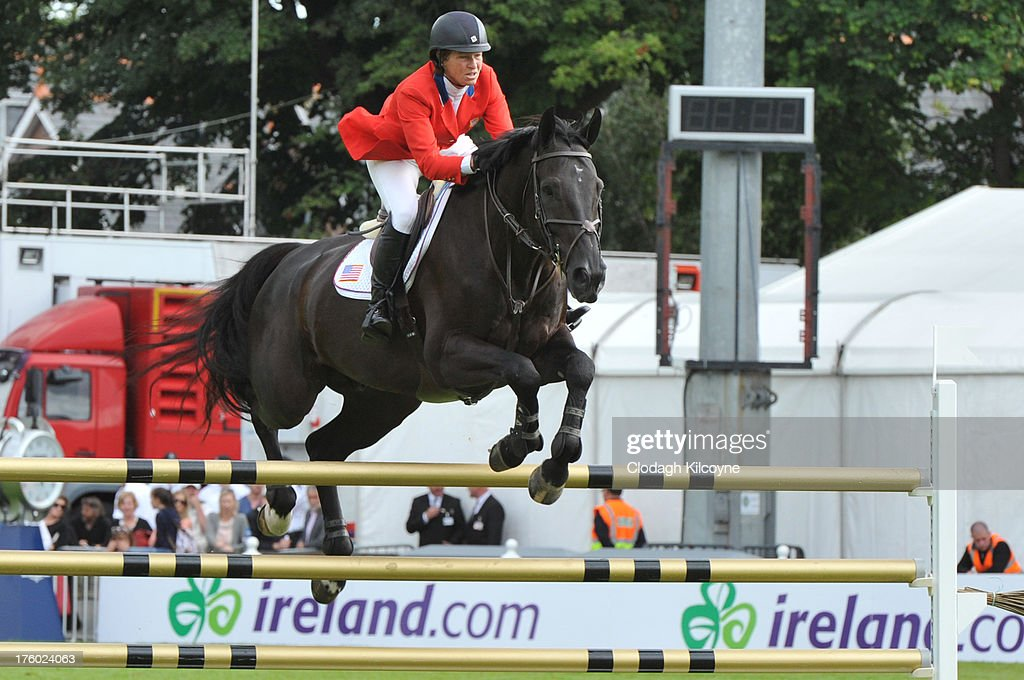 Elizabeth Madden and Cortes C of USA competes in the Longines International Showjumping Grand Prix of Ireland with a prize of EUR200,000 at the RDS Dublin Horse Show on August 11, 2013 in Dublin, Ireland.