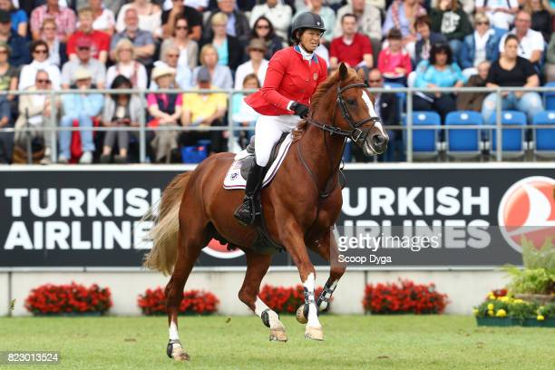 Elizabeth MADDEN riding DARRY LOU during the Rolex Grand Prix part of the Rolex Grand Slam of Show Jumping of the World Equestrian Festival on July...