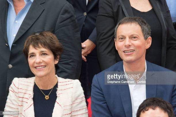 Elizabeth Martichoux and MarcOlivier Fogiel attend the RTLRTL2Fun Radio Press Conference to Announce Their TV Schedule for 2017/2018 at Cinema Elysee...