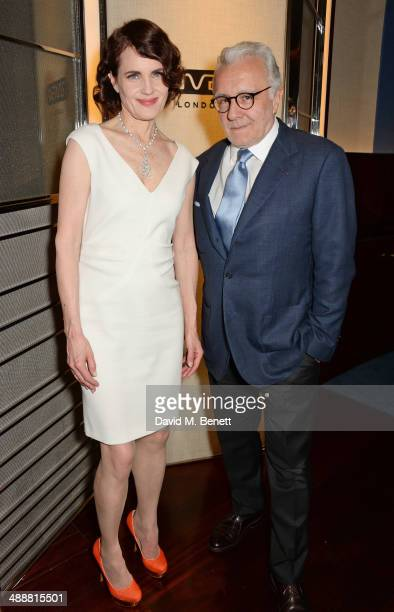 Elizabeth McGovern and Alain Ducasse attend the launch of Alain Ducasse's Rivea restaurant at The Bulgari Hotel on May 8 2014 in London England
