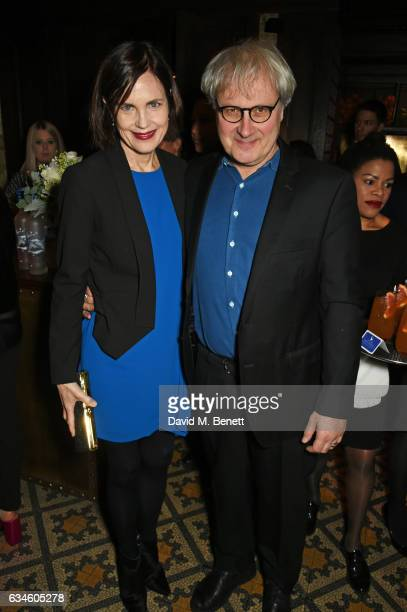 Elizabeth McGovern and Simon Curtis attend a dinner cohosted by Harvey Weinstein Burberry Evgeny Lebedev ahead of the 2017 BAFTA film awards in...