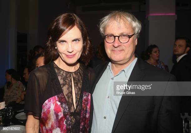 Elizabeth McGovern and Simon Curtis pose at the opening night after party for 'Time and The Conways' on Broadway at ESpace on October 10 2017 in New...
