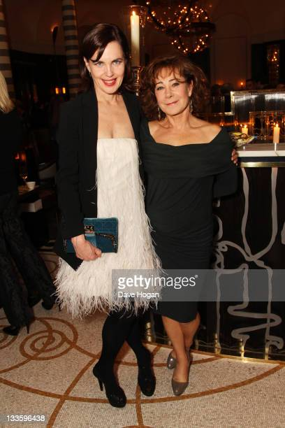 Elizabeth McGovern and Zoe Wanamaker attend the UK premiere afterparty of My Week with Marilyn at The Corinthia Hotel on November 20 2011 in London...