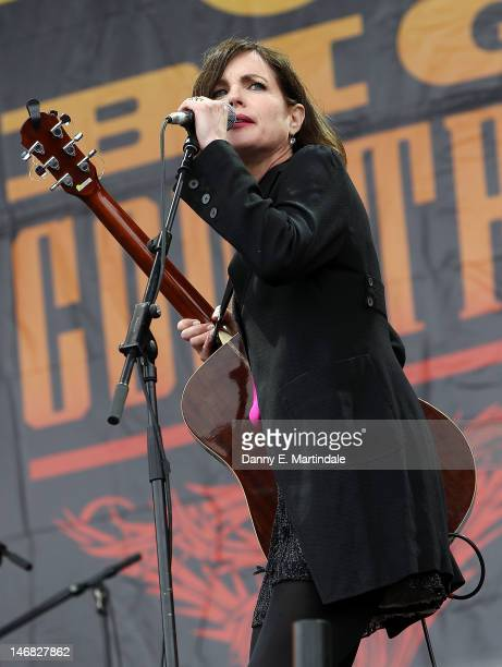 Elizabeth McGovern performs with Big Country at the Isle Of Wight Festival at Seaclose Park on June 23 2012 in Newport Isle of Wight