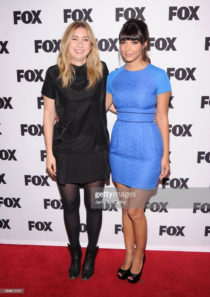 Elizabeth Meriwether and <a gi-track='captionPersonalityLinkClicked' href=/galleries/search?phrase=Hannah+Simone&family=editorial&specificpeople=3291351 ng-click='$event.stopPropagation()'>Hannah Simone</a> attend Fox's New Tuesday: A Comedy Conversation at 92Y Tribeca on October 26, 2012 in New York City.