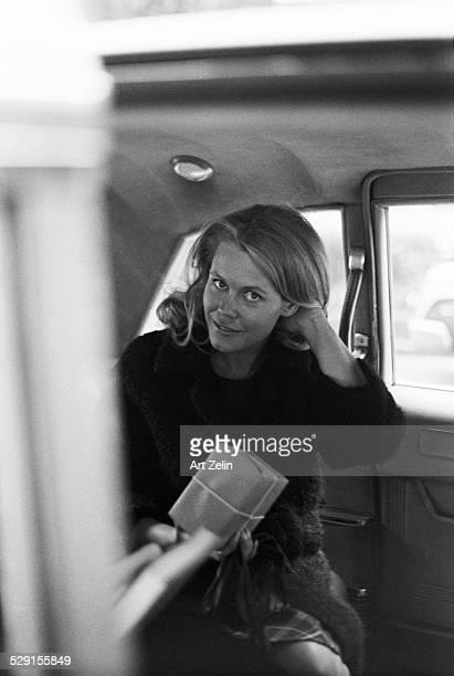 Elizabeth Montgomery in a car circa 1970 New York