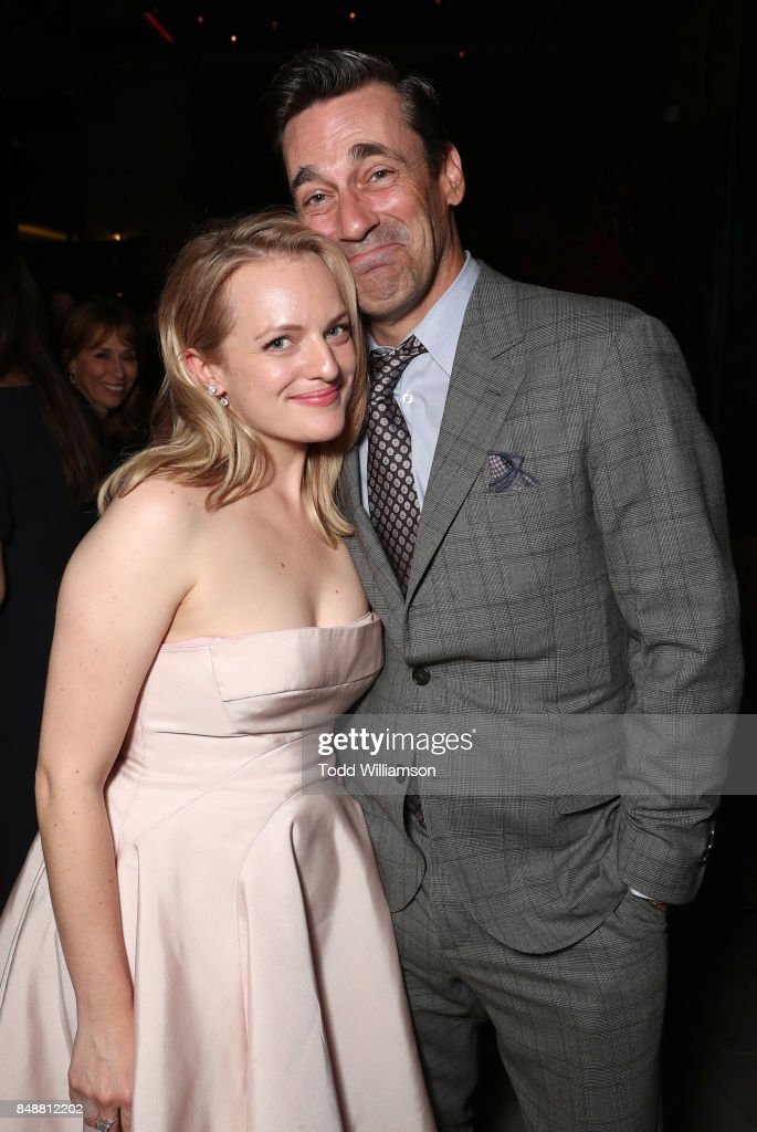 Elizabeth Moss and John Hamm attend Hulu's 2017 Emmy After Party at Otium on September 17, 2017 in Los Angeles, California.