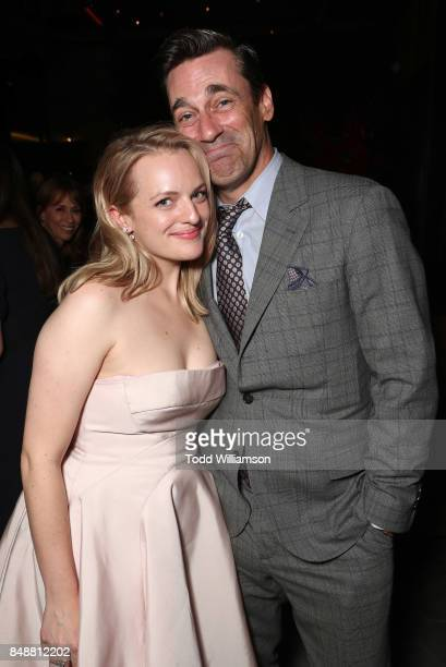 Elizabeth Moss and John Hamm attend Hulu's 2017 Emmy After Party at Otium on September 17 2017 in Los Angeles California