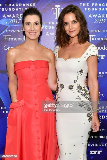 Elizabeth Msumanno and Katie Holmes poses backstage at the 2017 Fragrance Foundation Awards Presented By Hearst Magazines at Alice Tully Hall on June...