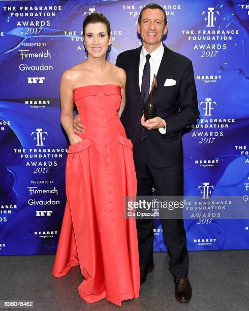 Elizabeth Musmanno and Alexander Vreeland pose backstage at the 2017 Fragrance Foundation Awards Presented By Hearst Magazines at Alice Tully Hall on...