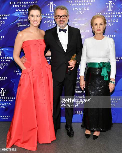Elizabeth Musmanno Marc Puig and Carolina Herrera pose backstage at the 2017 Fragrance Foundation Awards Presented By Hearst Magazines at Alice Tully...
