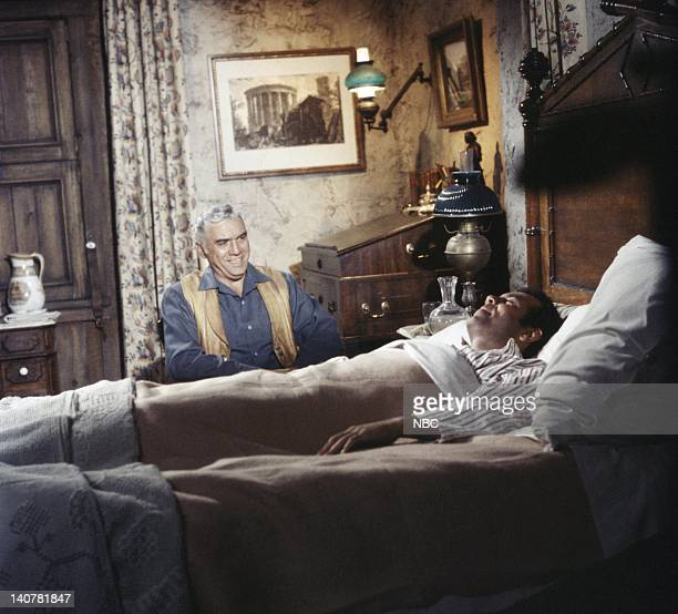 BONANZA 'Elizabeth My Love' Episode 33 Pictured Lorne Greene as Ben Cartwright Pernell Roberts as Adam Cartwright Photo by NBC/NBCU Photo Bank