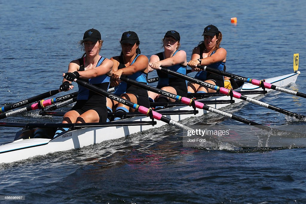 Elizabeth Norman, Kiriana Houltham, Anna Pattison, Jenna van Dort and cox Anna Gower-James of Wanganui Collegiate Rowing Club compete in the girls U17 coxed quad final during the Christmas Regatta 1 at Lake Karapiro on December 15, 2013 in Cambridge, New Zealand.