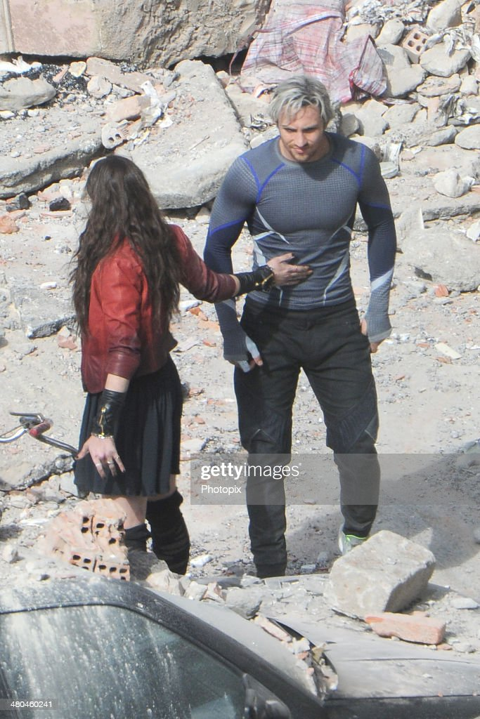 <a gi-track='captionPersonalityLinkClicked' href=/galleries/search?phrase=Elizabeth+Olsen&family=editorial&specificpeople=5775031 ng-click='$event.stopPropagation()'>Elizabeth Olsen</a> and Aaron Taylor-Johnson are seen filming on location for 'Avengers: Age of Ultron' in Pont-Saint-Martin on March 24, 2014 in Aosta, Italy.