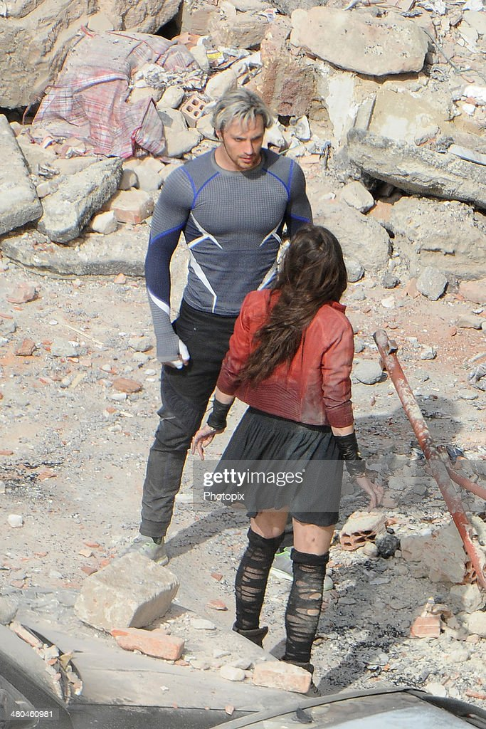 Elizabeth Olsen and Aaron Taylor-Johnson are seen filming on location for 'Avengers: Age of Ultron' in Pont-Saint-Martin on March 24, 2014 in Aosta, Italy.