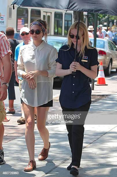 Elizabeth Olsen and Dakota Fanning are seen on the set of 'Very Good Girls' on July 05 2012 in New York City
