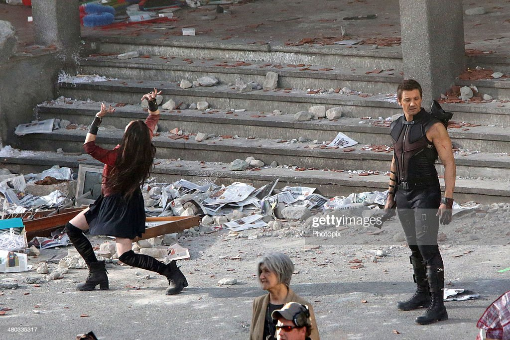 Elizabeth Olsen and Jeremy Renner are seen filming on location for 'Avengers: Age of Ultron' on March 24, 2014 in Aosta, Italy.