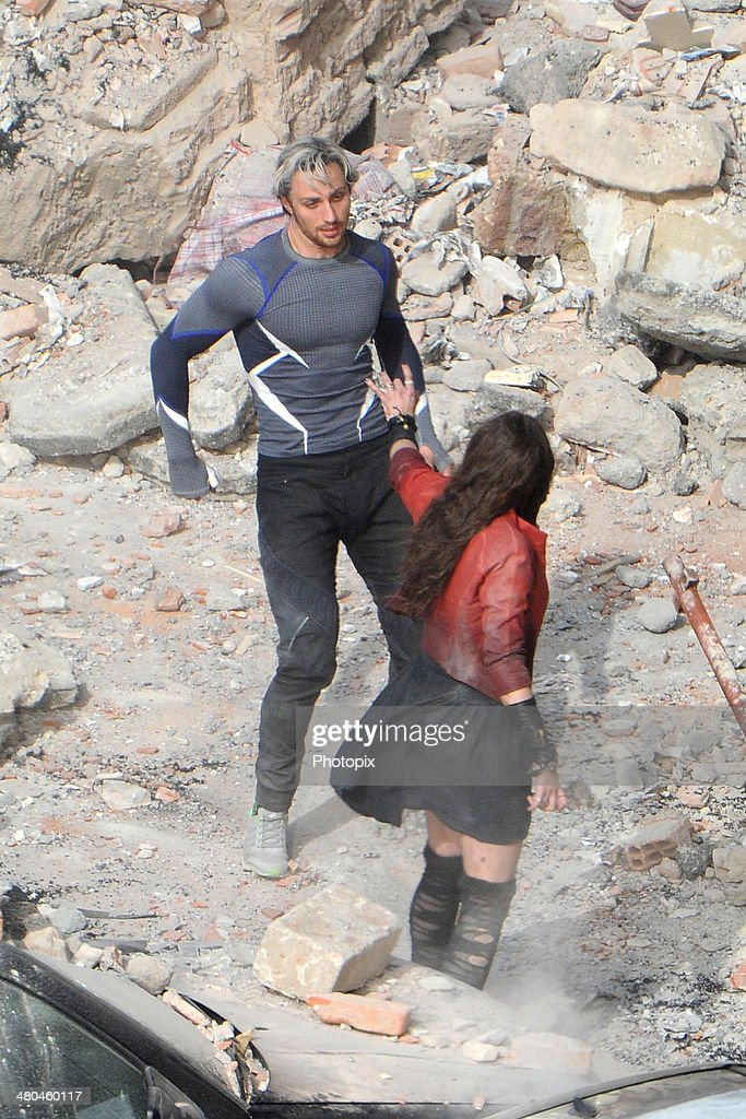 Elizabeth Olsen and Jeremy Renner are seen filming on location for 'Avengers: Age of Ultron' in Pont-Saint-Martin on March 24, 2014 in Aosta, Italy.