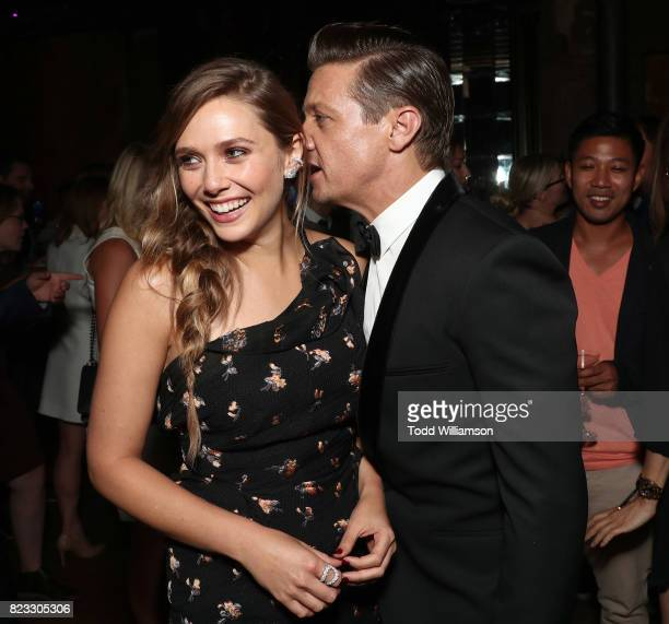 Elizabeth Olsen and Jeremy Renner attend the after party for the premiere ff The Weinstein Company's 'Wind River' on July 26 2017 in Los Angeles...