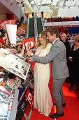 Elizabeth Olsen and Jeremy Renner attend the European Premiere of 'Captain America Civil War' at Vue Westfield on April 26 2016 in London England
