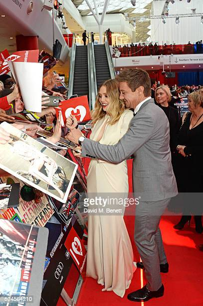 Elizabeth Olsen and Jeremy Renner attend the European Premiere of 'Captain America Civil War' at Vue Westfield on April 26 2016 in London England