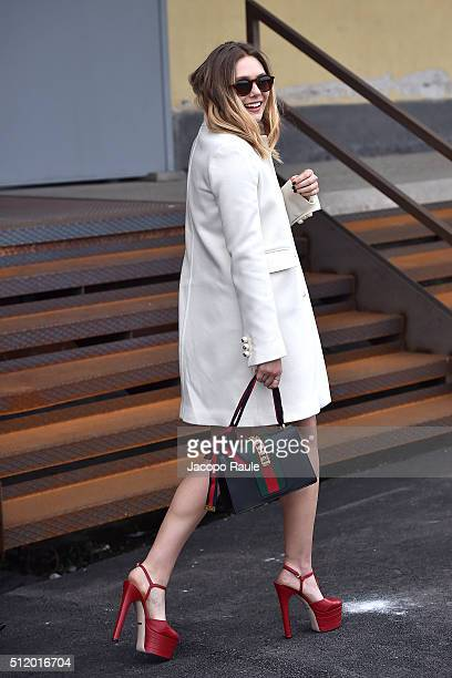 Elizabeth Olsen arrives at the Gucci show during Milan Fashion Week Fall/Winter 2016/17 on February 24 2016 in Milan Italy