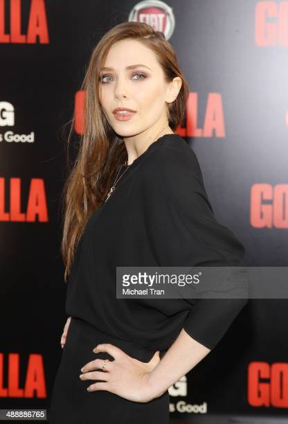 Elizabeth Olsen arrives at the Los Angeles premiere of 'Godzilla' held at Dolby Theatre on May 8 2014 in Hollywood California