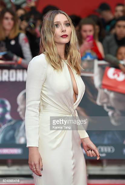 Elizabeth Olsen arrives for European film premiere 'Captain America Civil War' at Vue Westfield on April 26 2016 in London England