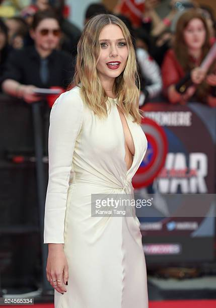 Elizabeth Olsen arrives for European film premiere of 'Captain America Civil War' at Vue Westfield on April 26 2016 in London England