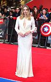 Elizabeth Olsen arrives for European Premiere 'Captain America Civil War' at Vue Westfield on April 26 2016 in London England