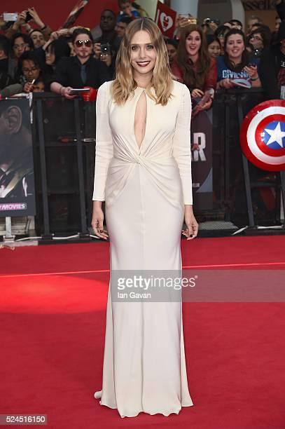 Elizabeth Olsen arrives for UK film premiere 'Captain America Civil War' at Vue Westfield on April 26 2016 in London England
