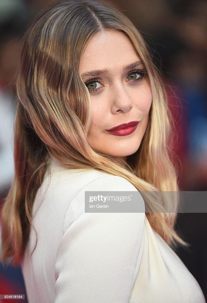 Elizabeth Olsen arrives for UK film premiere 'Captain America: Civil War' at Vue Westfield on April 26, 2016 in London, England