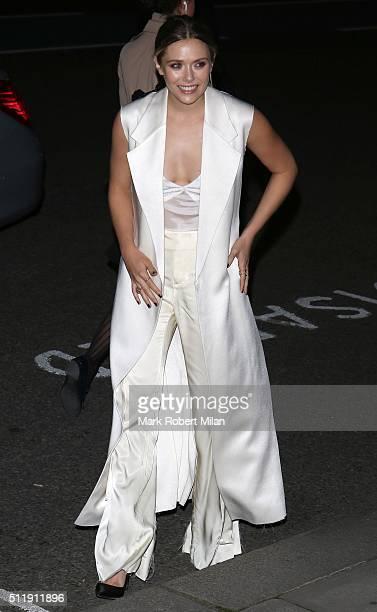 Elizabeth Olsen attending the Elle Style awards on February 23 2016 in London England