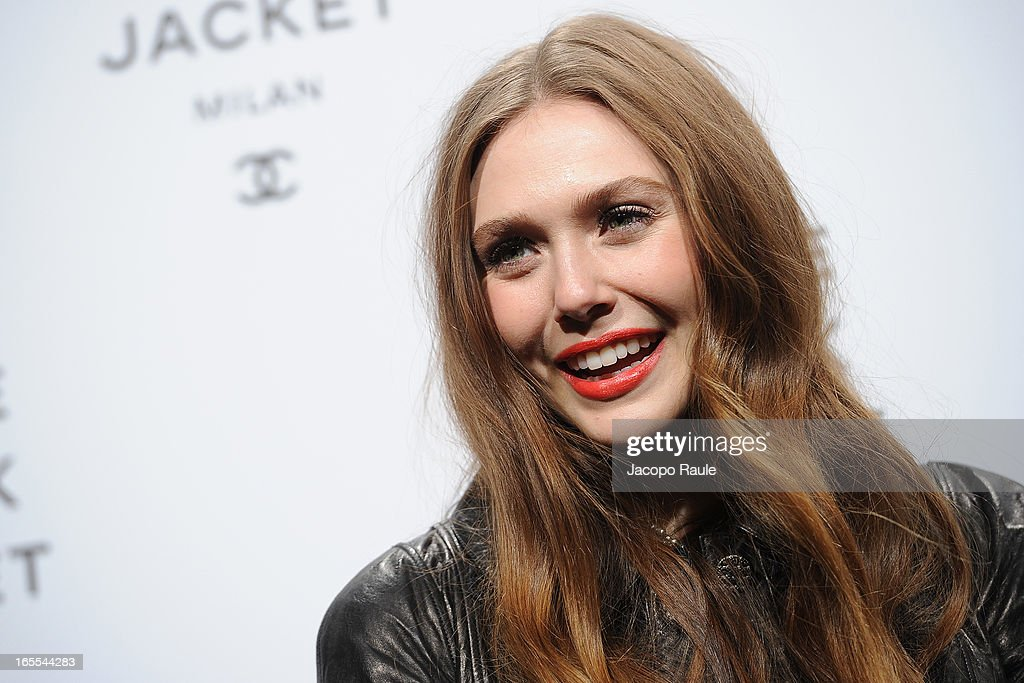 <a gi-track='captionPersonalityLinkClicked' href=/galleries/search?phrase=Elizabeth+Olsen&family=editorial&specificpeople=5775031 ng-click='$event.stopPropagation()'>Elizabeth Olsen</a> attends hanel The Little Black Jacket - Karl Lagerfeld Photography Exhibition Dinner Party on April 4, 2013 in Milan, Italy.