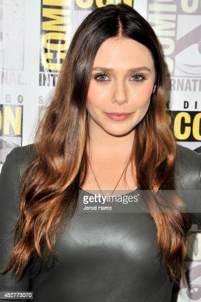 Elizabeth Olsen attends Marvel's 'AntMan' press line during ComicCon International 2014 at San Diego Convention Center on July 26 2014 in San Diego...
