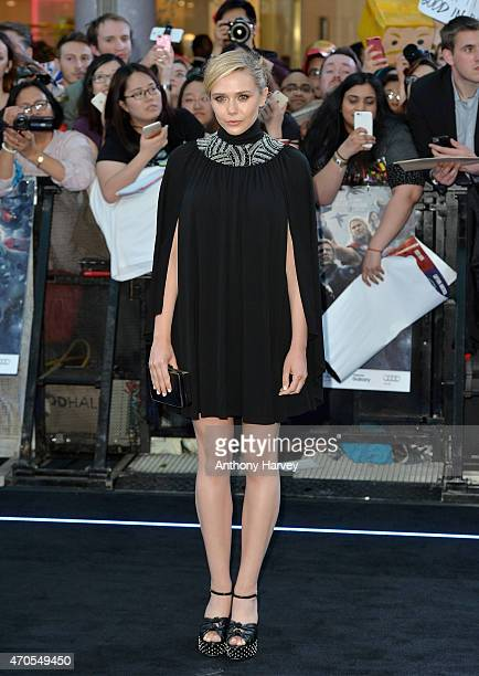 Elizabeth Olsen attends 'The Avengers Age Of Ultron' European premiere at Westfield London on April 21 2015 in London England
