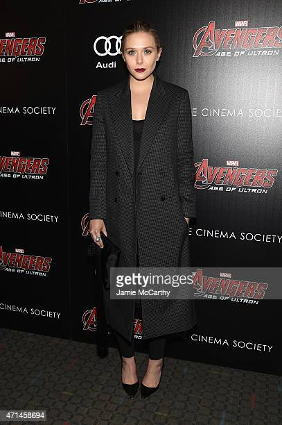 Elizabeth Olsen attends The Cinema Society Audi screening of Marvel's 'Avengers Age of Ultron' at SVA Theater on April 28 2015 in New York City