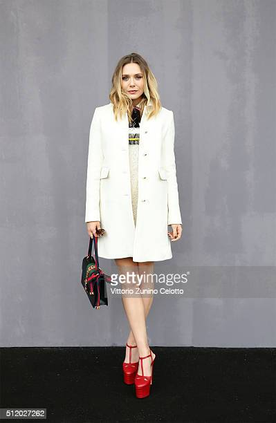 Elizabeth Olsen attends the Gucci show during Milan Fashion Week Fall/Winter 2016/17 on February 24 2016 in Milan Italy