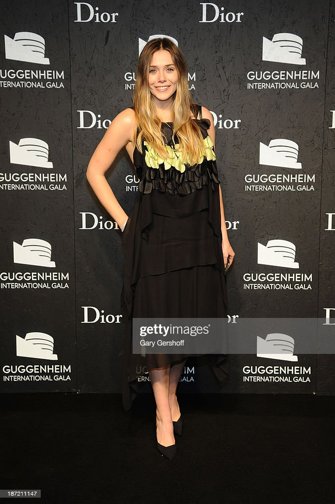 <a gi-track='captionPersonalityLinkClicked' href=/galleries/search?phrase=Elizabeth+Olsen&family=editorial&specificpeople=5775031 ng-click='$event.stopPropagation()'>Elizabeth Olsen</a> attends the Guggenheim International Gala, made possible by Dior, Pre-party hosted by The Young Collector's Council at Guggenheim Museum on November 6, 2013 in New York City.