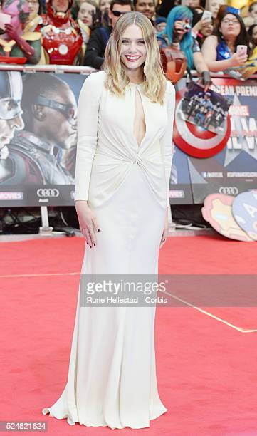 Elizabeth Olsen attends the premiere of Captain America Civil War at Vue Westfield on April 26 2016 in London England