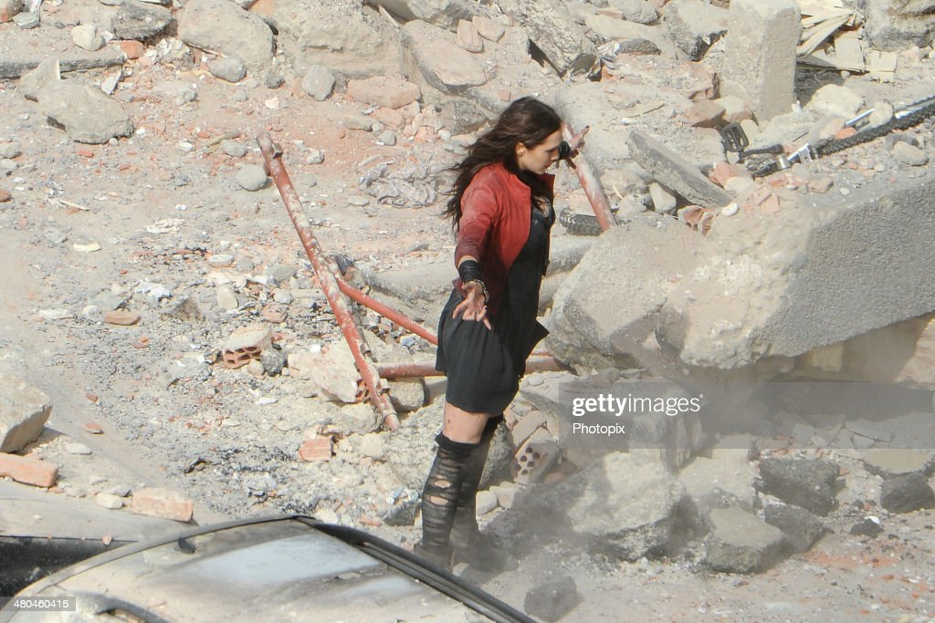 Elizabeth Olsen is seen filming on location for 'Avengers: Age of Ultron' in Pont-Saint-Martin on March 24, 2014 in Aosta, Italy.