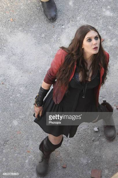 Elizabeth Olsen is seen filming on location for 'Avengers Age of Ultron' on March 24 2014 in Aosta Italy