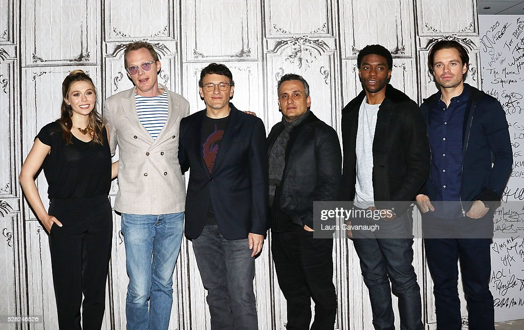 Elizabeth Olsen, Paul Bettany, Anthony Russo, Joe Russo, Chadwick Boseman and Sebastian Stan attend AOL Build Speaker Series to discuss 'Captain America: Civil War' at AOL Studios In New York on May 4, 2016 in New York City.