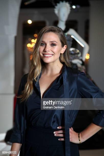 Elizabeth Olsen poses ahead of the NGV Gala at NGV International on August 26 2017 in Melbourne Australia
