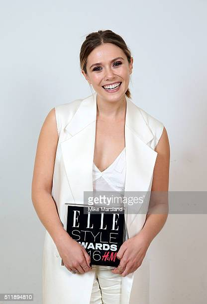 Elizabeth Olsen winner of the Actress of the Year award poses in the winners room at The Elle Style Awards 2016 on February 23 2016 in London England