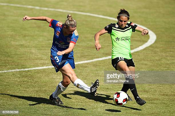 Elizabeth O'Reilly of the Jets competes with Ashleigh Sykes of Canberra during the round four WLeague match between Canberra United and the Newcastle...