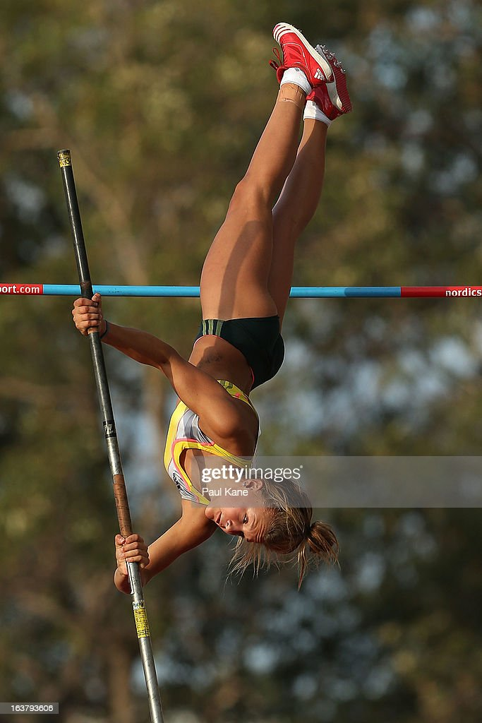 Elizabeth Parnov competes in the womens open pole vault during the Perth Track Classic at the WA Athletics Stadium on March 16, 2013 in Perth, Australia.